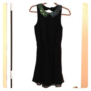 Sheer Black dress, collar has iridescent sequences
